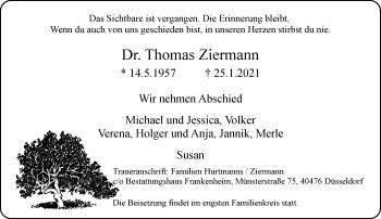 Traueranzeige von Thomas Ziermann von Rheinische Post