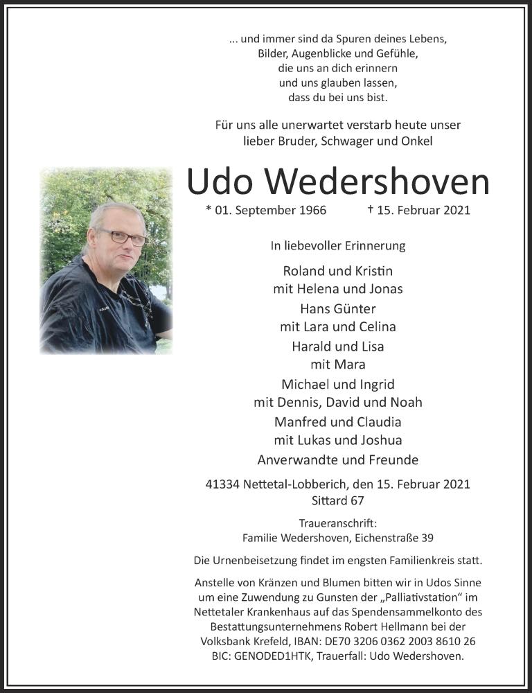Traueranzeige für Udo Wedershoven vom 20.02.2021 aus Rheinische Post