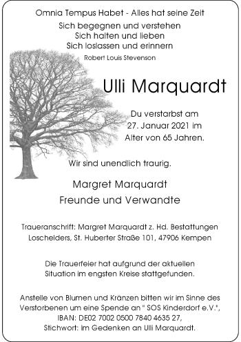Traueranzeige von Ulli Marquardt von Rheinische Post