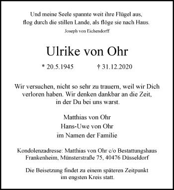 Traueranzeige von Ulrike von Ohr von Rheinische Post