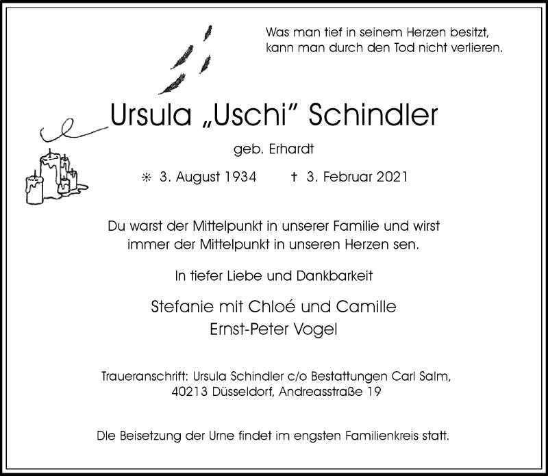 Traueranzeige für Ursula  Schindler vom 20.02.2021 aus Rheinische Post