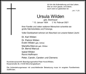 Traueranzeige von Ursula Wilden von Rheinische Post