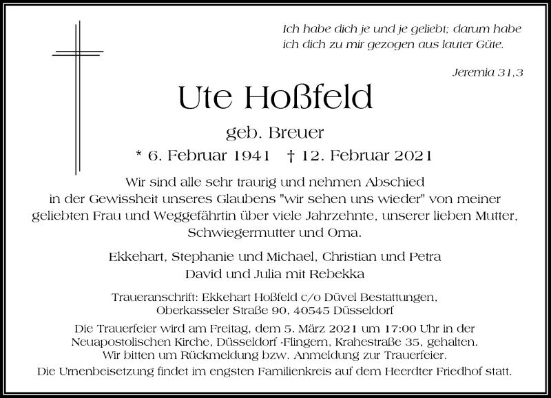 Traueranzeige für Ute Hoßfeld vom 20.02.2021 aus Rheinische Post