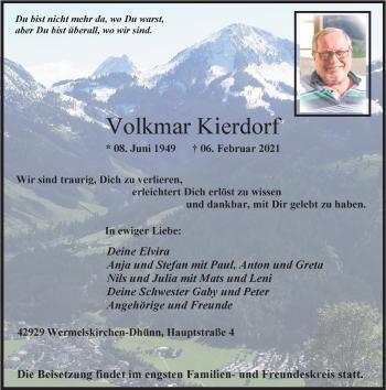 Traueranzeige von Volkmar Kierdorf von Rheinische Post