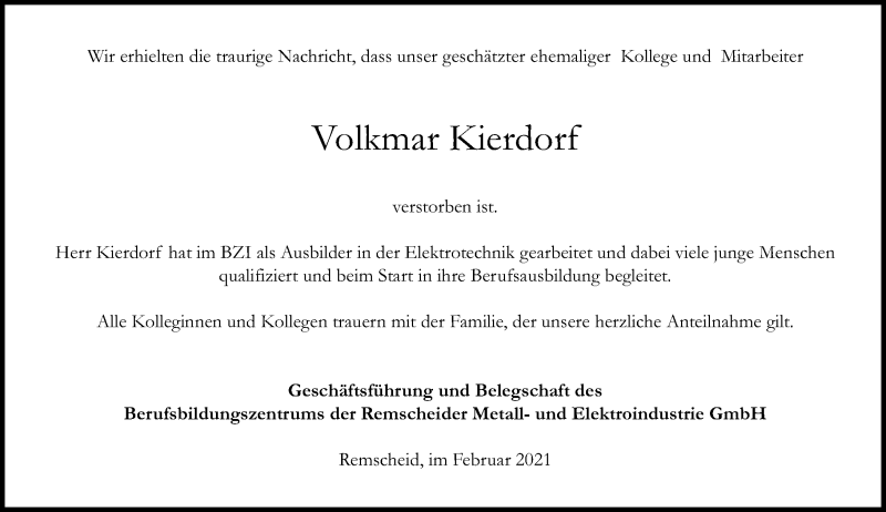Traueranzeige für Volkmar Kierdorf vom 20.02.2021 aus Rheinische Post