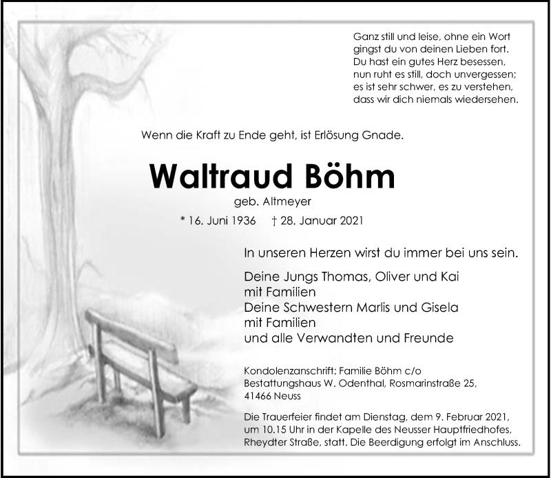 Traueranzeige für Waltraud Böhm vom 06.02.2021 aus Rheinische Post