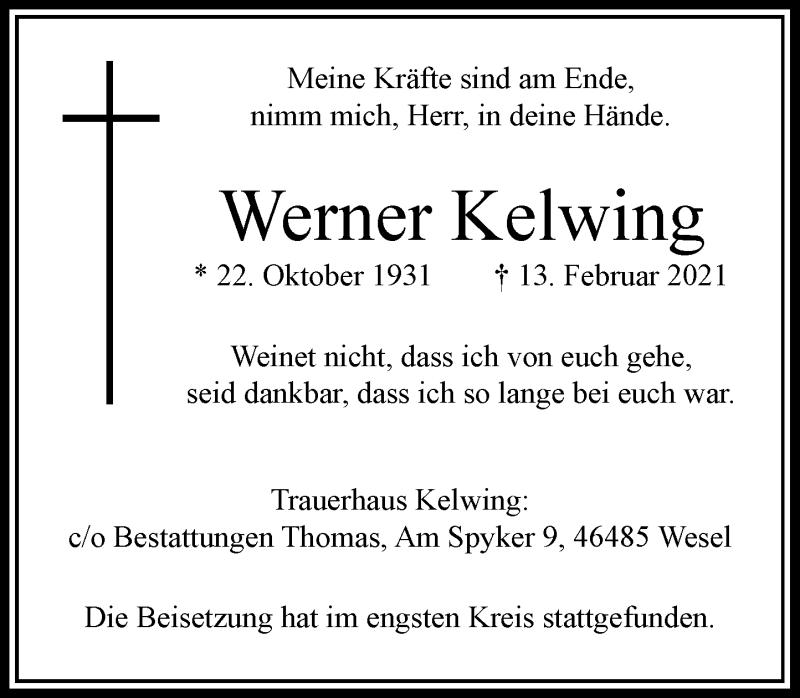 Traueranzeige für Werner Kelwing vom 20.02.2021 aus Rheinische Post