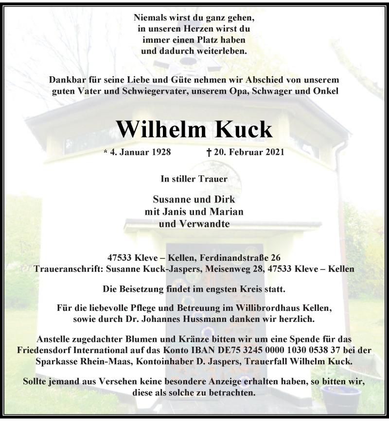 Traueranzeige für Wilhelm Kuck vom 24.02.2021 aus Rheinische Post