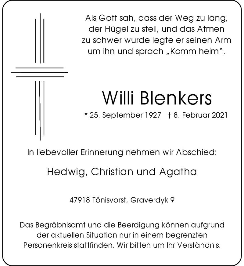 Traueranzeige für Willi Blenkers vom 13.02.2021 aus Rheinische Post