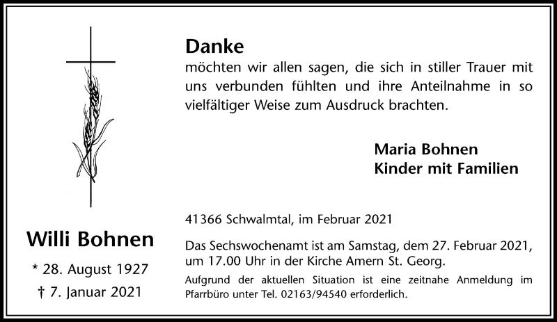 Traueranzeige für Willi Bohnen vom 13.02.2021 aus Rheinische Post