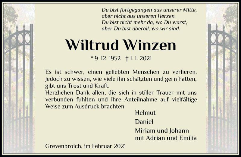 Traueranzeige für Wiltrud Winzers vom 06.02.2021 aus Rheinische Post