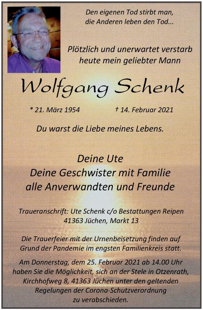 Traueranzeige für Wolfgang Schenk vom 20.02.2021 aus Rheinische Post