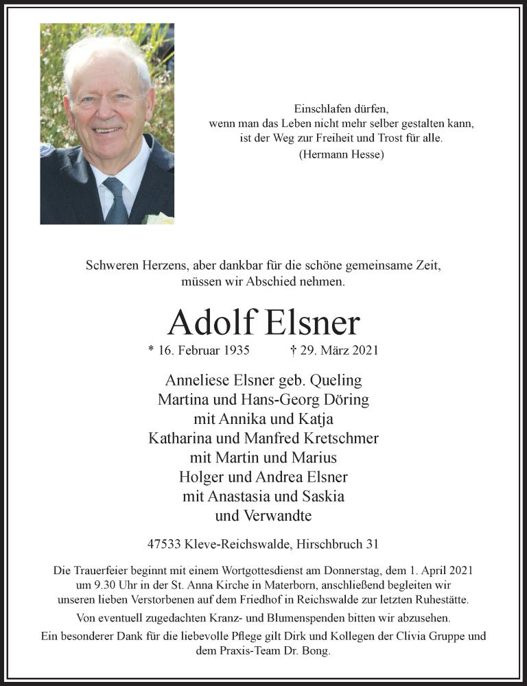 Traueranzeige für Adolf Elsner vom 31.03.2021 aus Rheinische Post