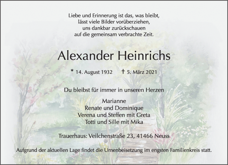 Traueranzeige für Alexander Heinrichs vom 13.03.2021 aus Rheinische Post