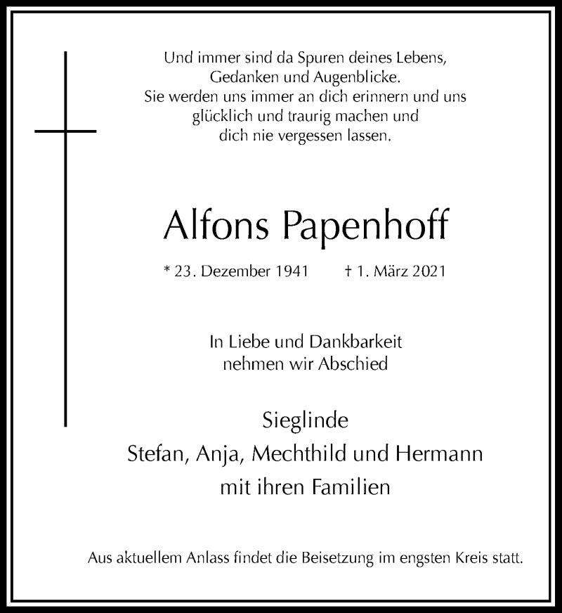 Traueranzeige für Alfons Papenhoff vom 17.03.2021 aus Rheinische Post