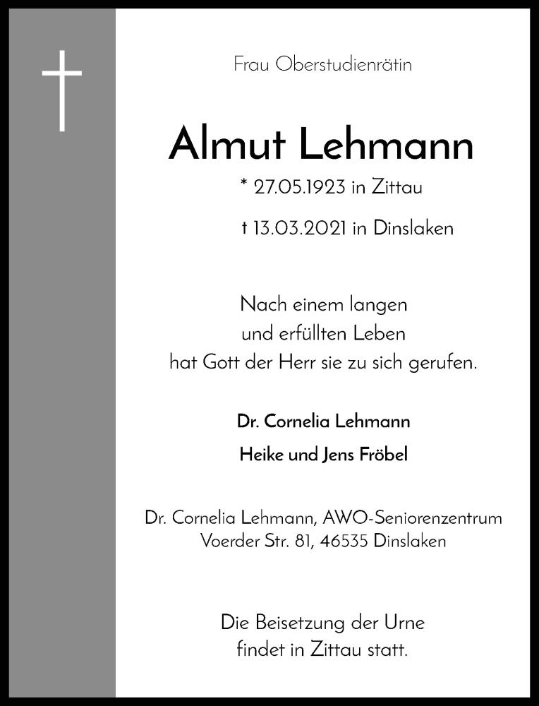 Traueranzeige für Almut Lehmann vom 27.03.2021 aus Rheinische Post