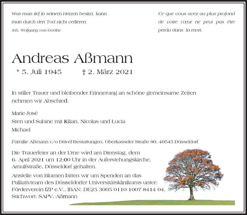 Traueranzeige für Andreas Aßmann vom 06.03.2021 aus Rheinische Post