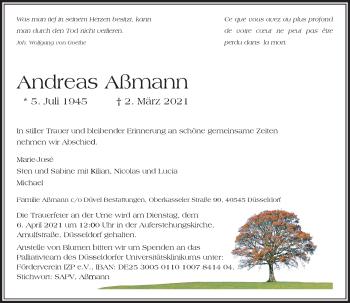 Traueranzeige von Andreas Aßmann von Rheinische Post