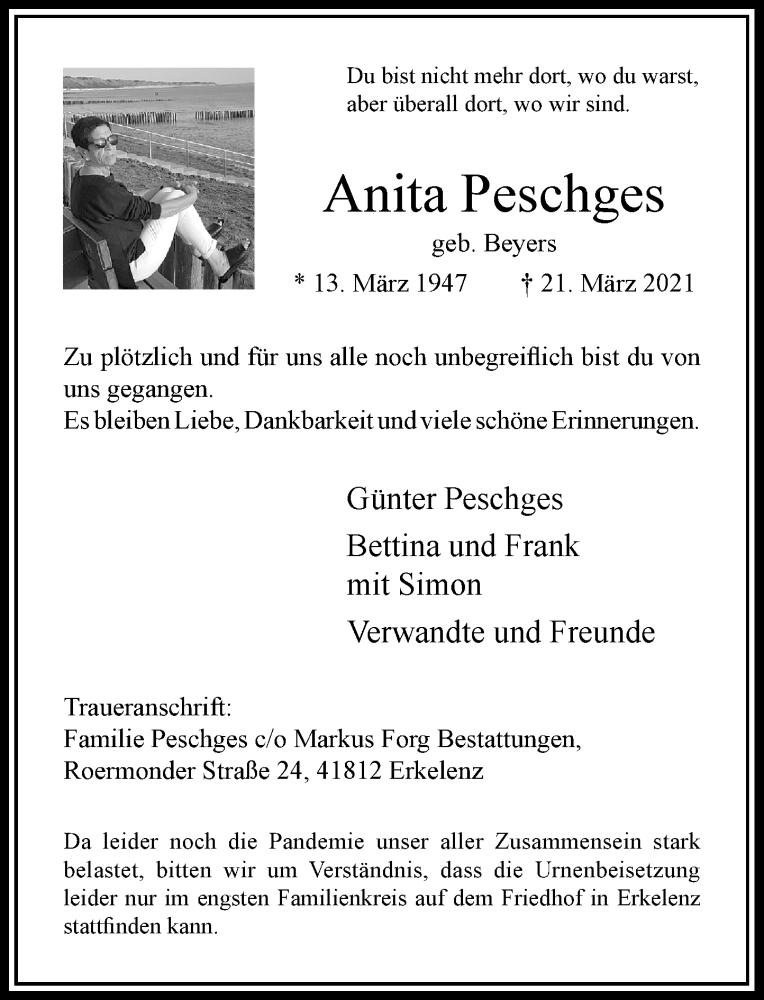 Traueranzeige für Anita Peschges vom 27.03.2021 aus Rheinische Post
