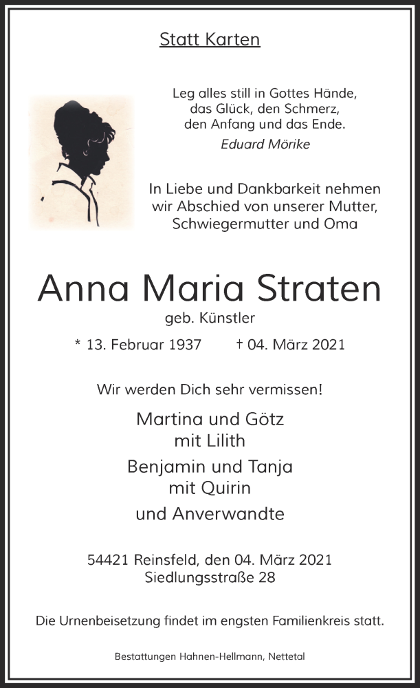 Traueranzeige für Anna Maria Straten vom 20.03.2021 aus Rheinische Post