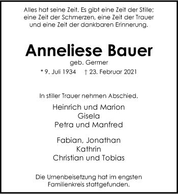 Traueranzeige von Anneliese Bauer von Rheinische Post