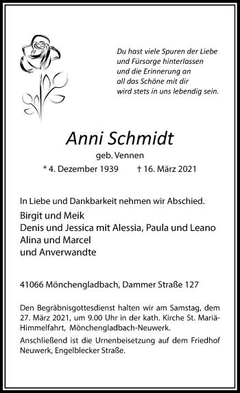 Traueranzeige von Anni Schmidt von Rheinische Post