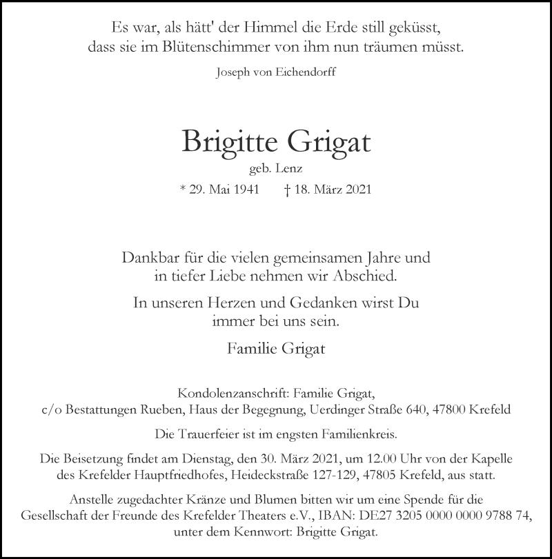 Traueranzeige für Brigitte Grigat vom 27.03.2021 aus Rheinische Post