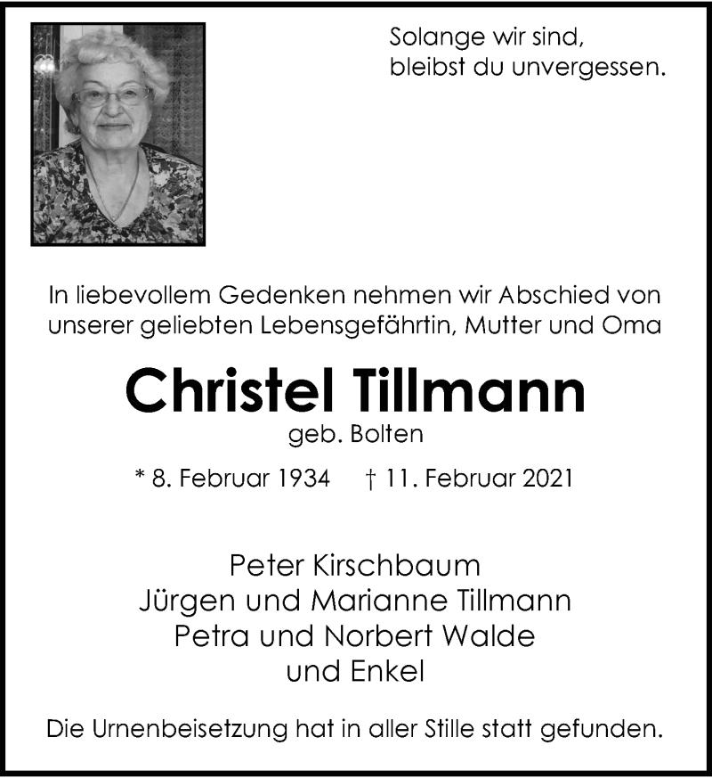 Traueranzeige für Christel Tillmann vom 13.03.2021 aus Rheinische Post