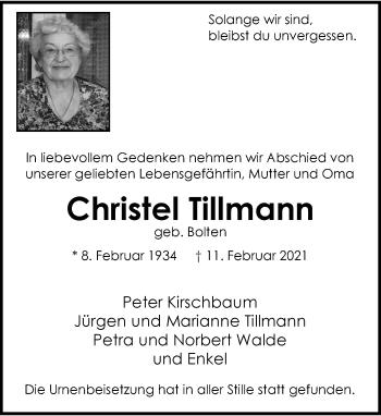 Traueranzeige von Christel Tillmann von Rheinische Post