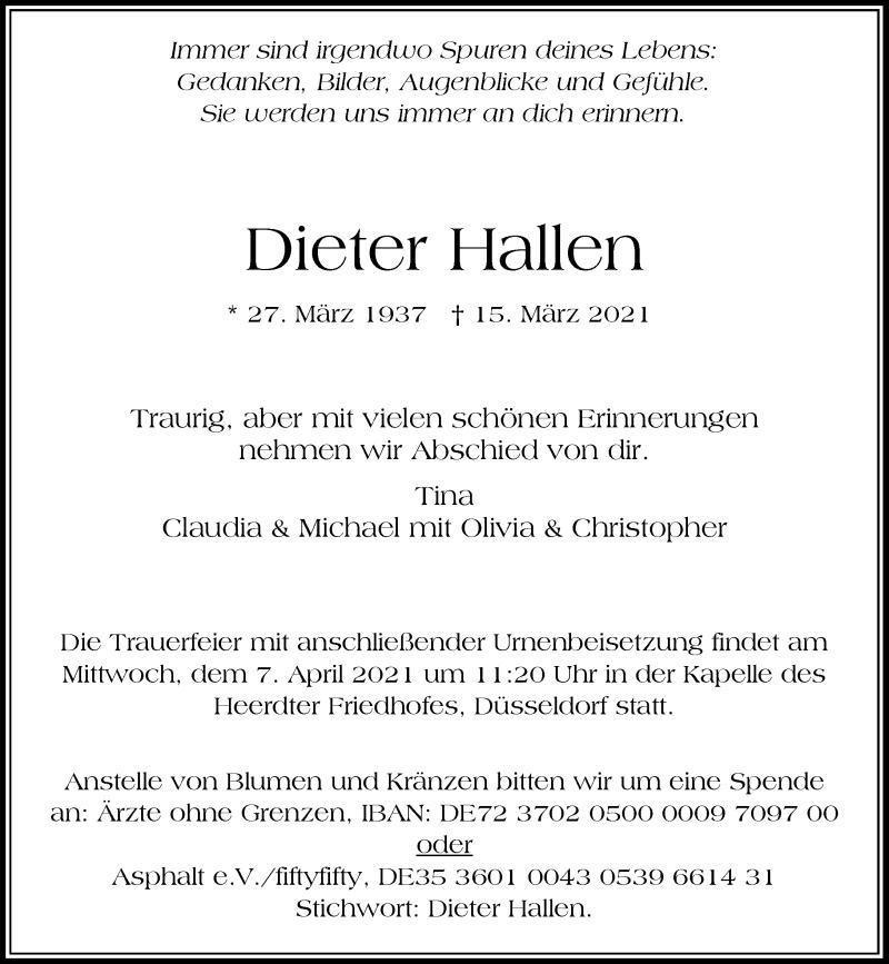 Traueranzeige für Dieter Hallen vom 20.03.2021 aus Rheinische Post