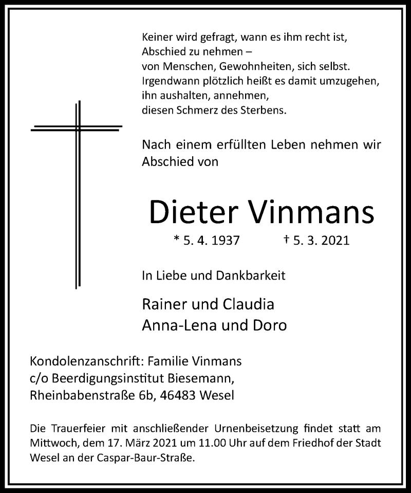 Traueranzeige für Dieter Vinmans vom 11.03.2021 aus Rheinische Post