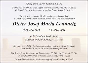 Traueranzeige von Dieter Josef Maria Lennartz von Rheinische Post