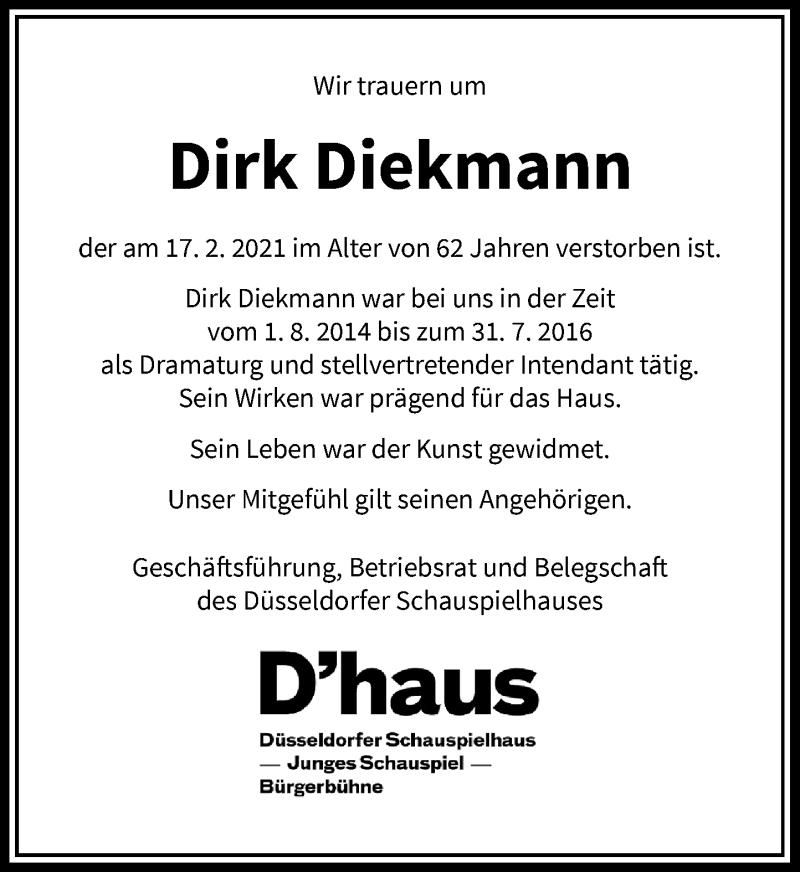 Traueranzeige für Dirk Diekmann vom 13.03.2021 aus Rheinische Post