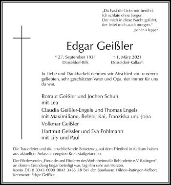 Traueranzeige von Edgar Geißler von Rheinische Post