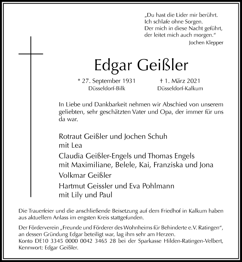 Traueranzeige für Edgar Geißler vom 13.03.2021 aus Rheinische Post