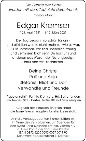 Traueranzeige von Edgar Kremser von Rheinische Post