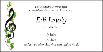 Traueranzeige von Edi Lejoly von Rheinische Post