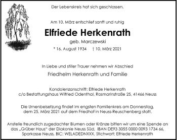 Traueranzeige von Elfriede Herkenrath von Rheinische Post