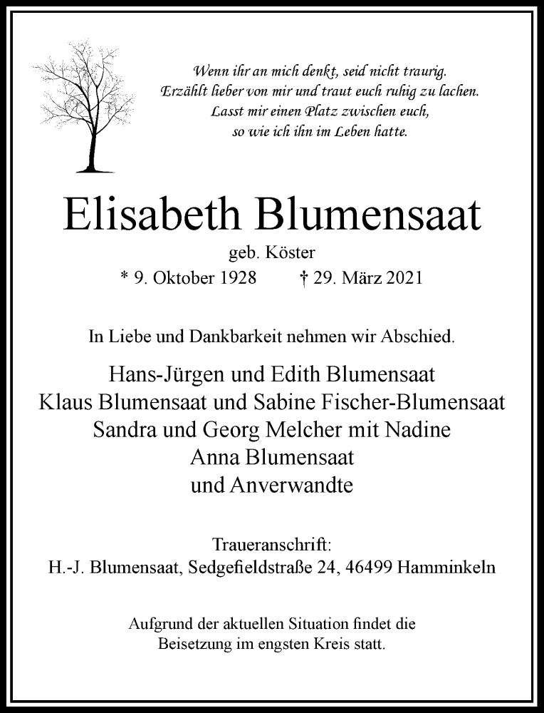 Traueranzeige für Elisabeth Blumensaat vom 30.03.2021 aus Rheinische Post