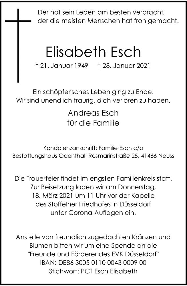 Traueranzeige für Elisabeth Esch vom 06.03.2021 aus Rheinische Post