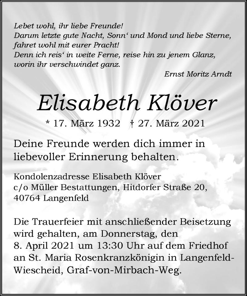 Traueranzeige für Elisabeth Klöver vom 03.04.2021 aus Rheinische Post