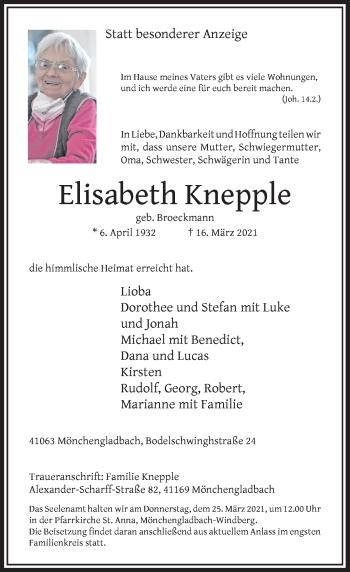 Traueranzeige von Elisabeth Knepple von Rheinische Post