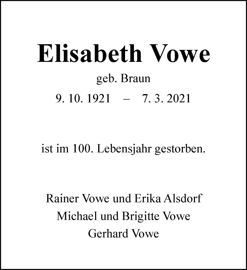 Traueranzeige für Elisabeth Vowe vom 27.03.2021 aus Rheinische Post