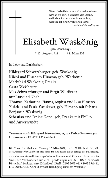 Traueranzeige von Elisabeth Waskönig von Rheinische Post