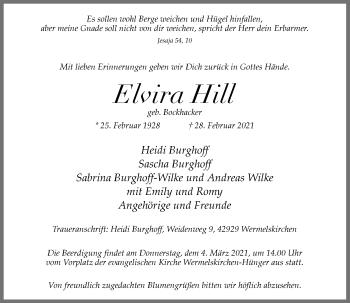 Traueranzeige von Elvira Hill von Rheinische Post