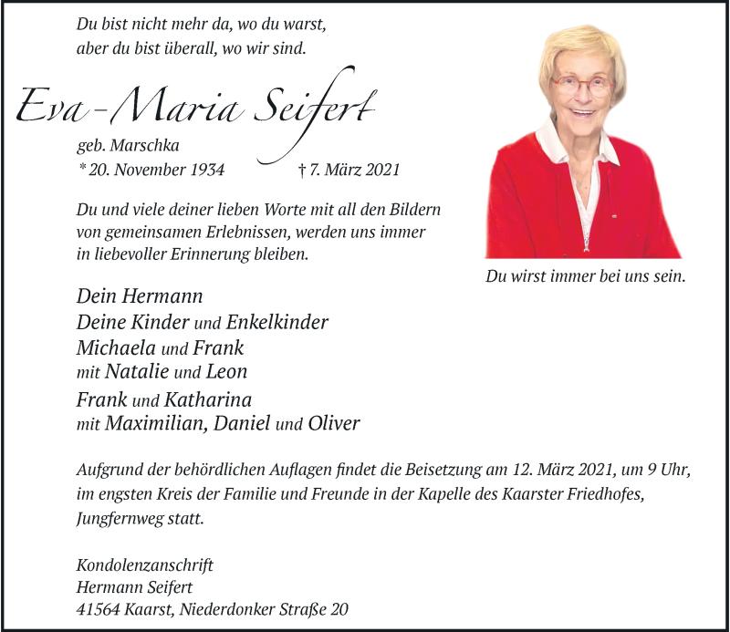Traueranzeige für Eva-Maria Seifert vom 11.03.2021 aus Rheinische Post