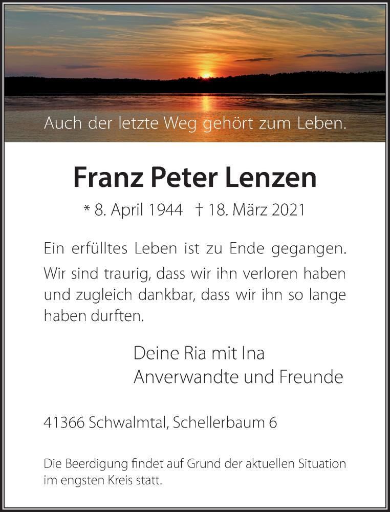 Traueranzeige für Franz Peter Lenzen vom 27.03.2021 aus Rheinische Post