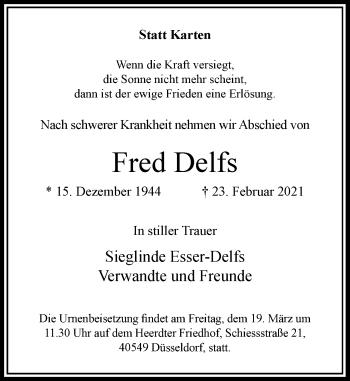 Traueranzeige von Fred Delfs von Rheinische Post