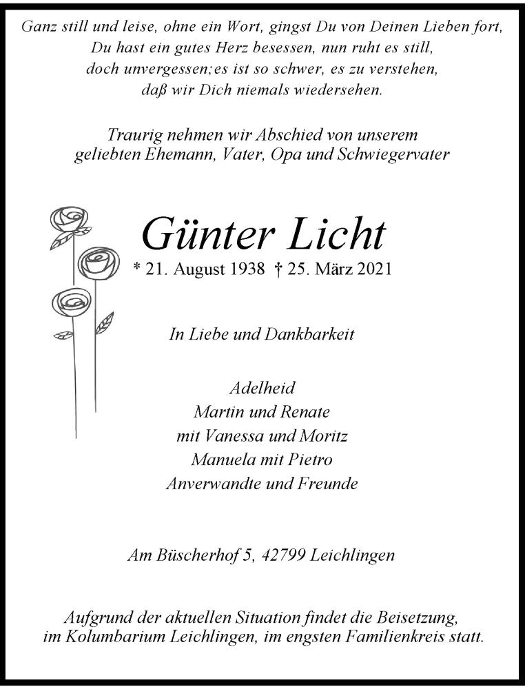 Traueranzeige für Günter Licht vom 03.04.2021 aus Rheinische Post