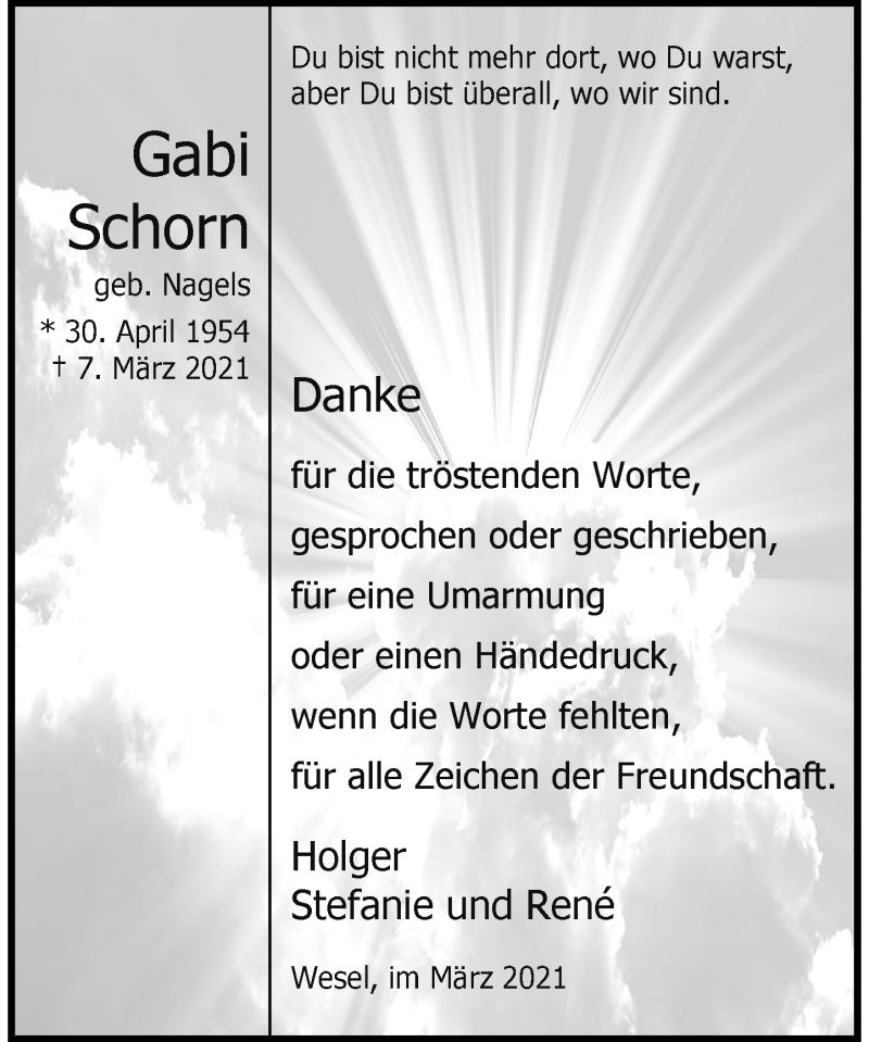Traueranzeige für Gabi Schorn vom 27.03.2021 aus Rheinische Post